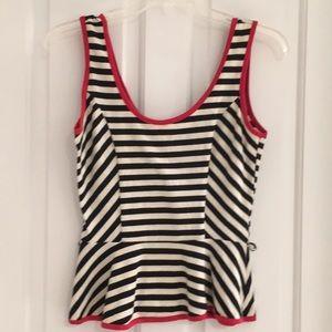 Peplum sleeveless black white red top
